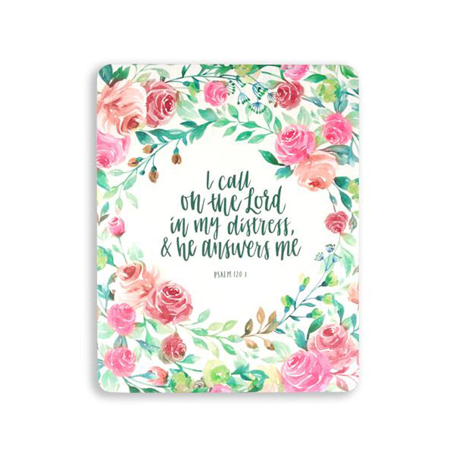 motivational bible verse 'I call on the Lord and he answers me' on white background with roses details digitally printed on 16cmx20cm quality pine wood.