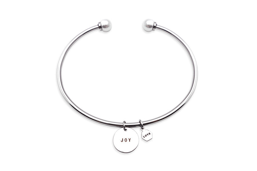 Circle Shaped Pendant Joy Pendant with Pearl Customisable Bangle Bracelet Costume Jewellery