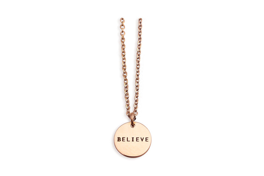 'Believe' engraving on rose gold pendant. customisation of one side available. Great inspirational gifts