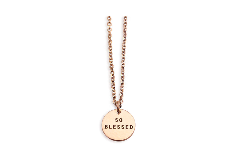 Circle Pendant Necklace So Blessed Remind Yourself Daily Reminder And Encouragement