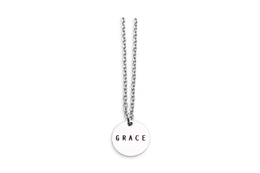 Circle silver Pendant Necklace, stainless steel,  'Grace' engraving. Christmas Gift Ideas for Friends