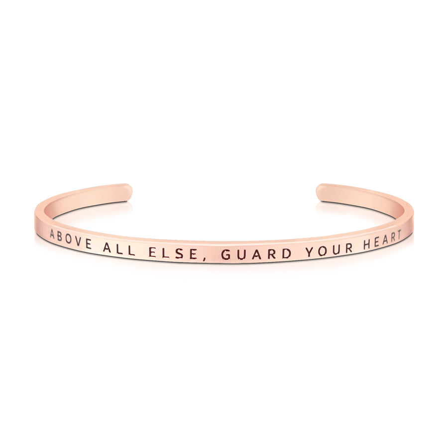 16cm stainless steel verse band, rose gold plated, adjustable to fit most wrists. Bible verse: Above all else, Guard your heart.