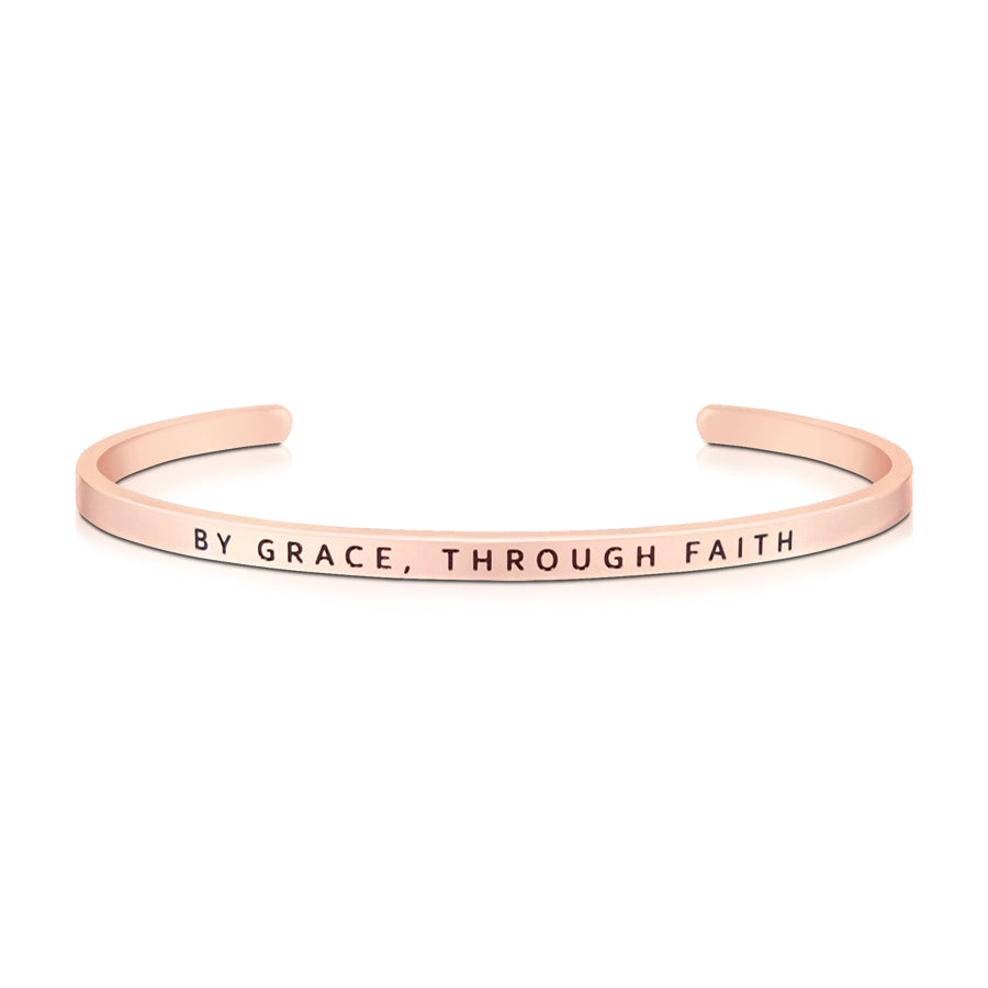 16cm stainless steel verse band, rose gold plated, adjustable to fit most wrists. Bible verse: By grace, through faith.