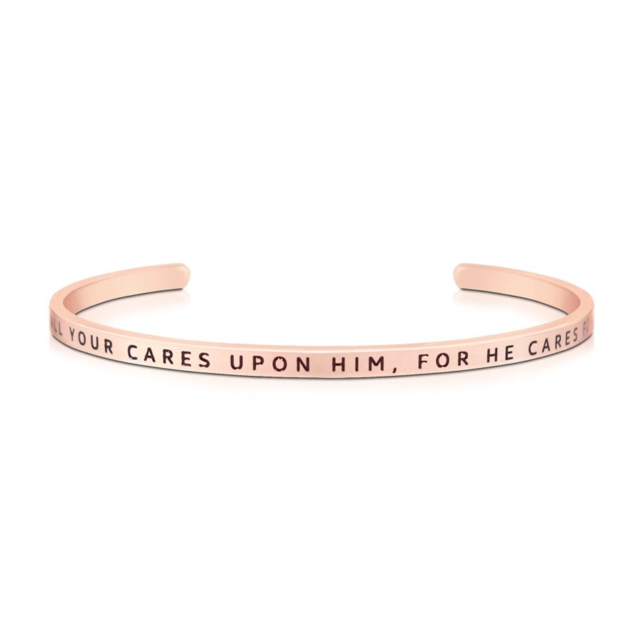 16cm stainless steel verse band, rose gold plated, adjustable to fit most wrists. Bible verse: Cast your cares upon him for he cares for you.