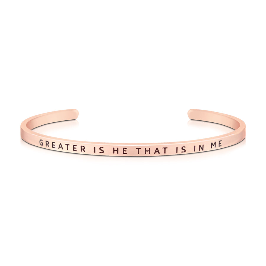 16cm stainless steel verse band, rose gold plated, adjustable to fit most wrists. verse Greater is he that is in me