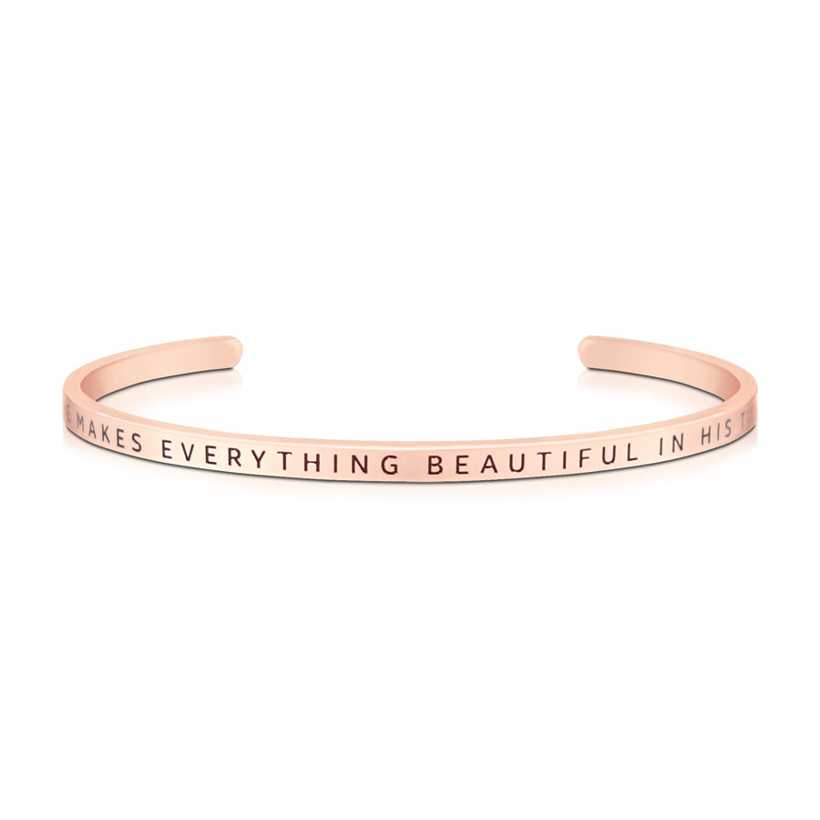 16cm stainless steel verse band, rose gold plated, adjustable to fit most wrists. Verse: He makes all things beautiful in His time.