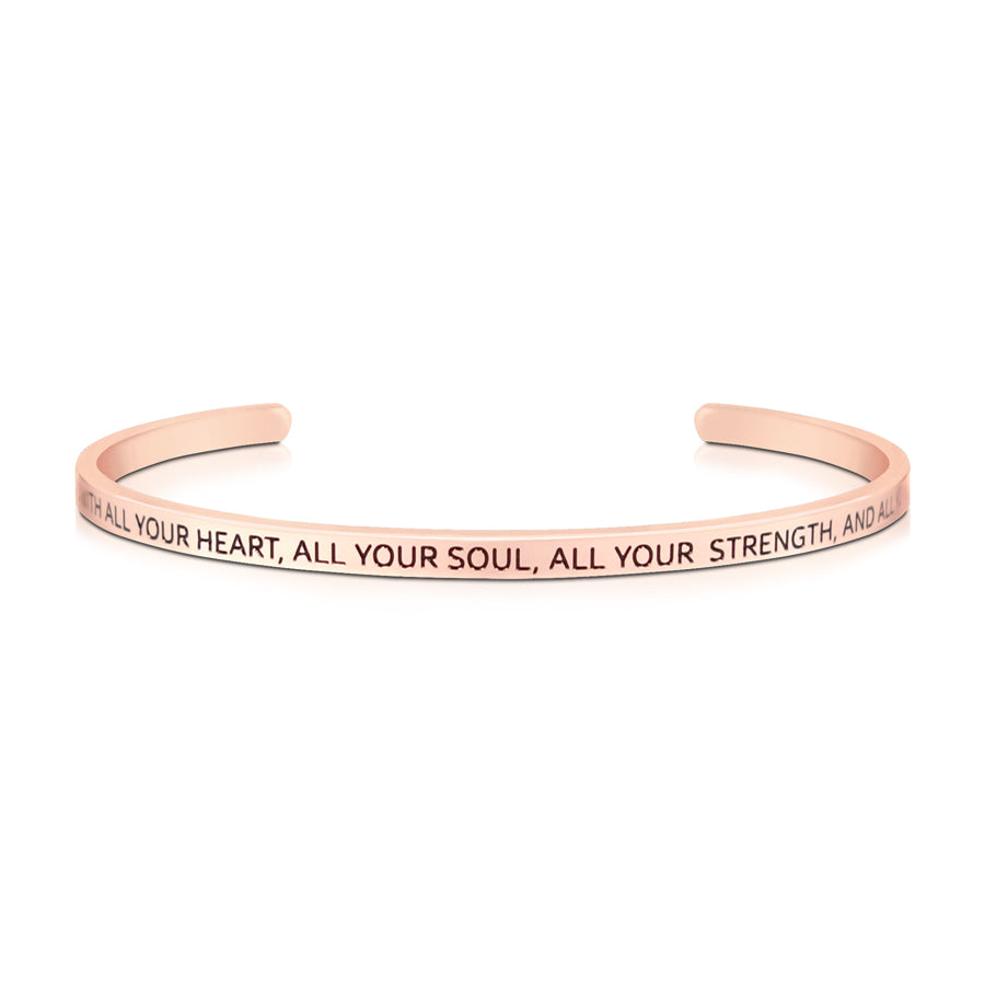 16cm stainless steel verse band, rose gold plated, adjustable to fit most wrists. Verse: Love God with all your heart.
