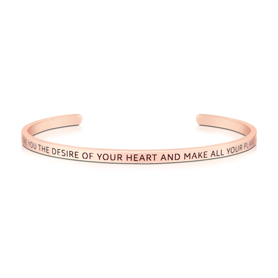 16cm stainless steel verse band, rose gold plated, adjustable to fit most wrists. verse: May He give you the desire of your heart and make all your plans come true.