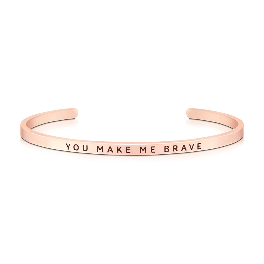 16cm stainless steel verse band, rose gold plated, adjustable to fit most wrists. Verse: You make me brave.
