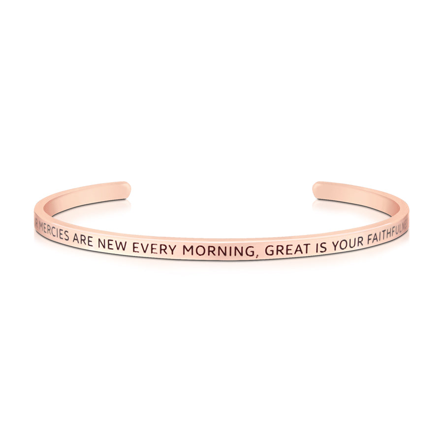 16cm stainless steel verse band, rose gold plated, adjustable to fit most wrists. Verse: Your mercies are new every morning, great is your faithfulness.
