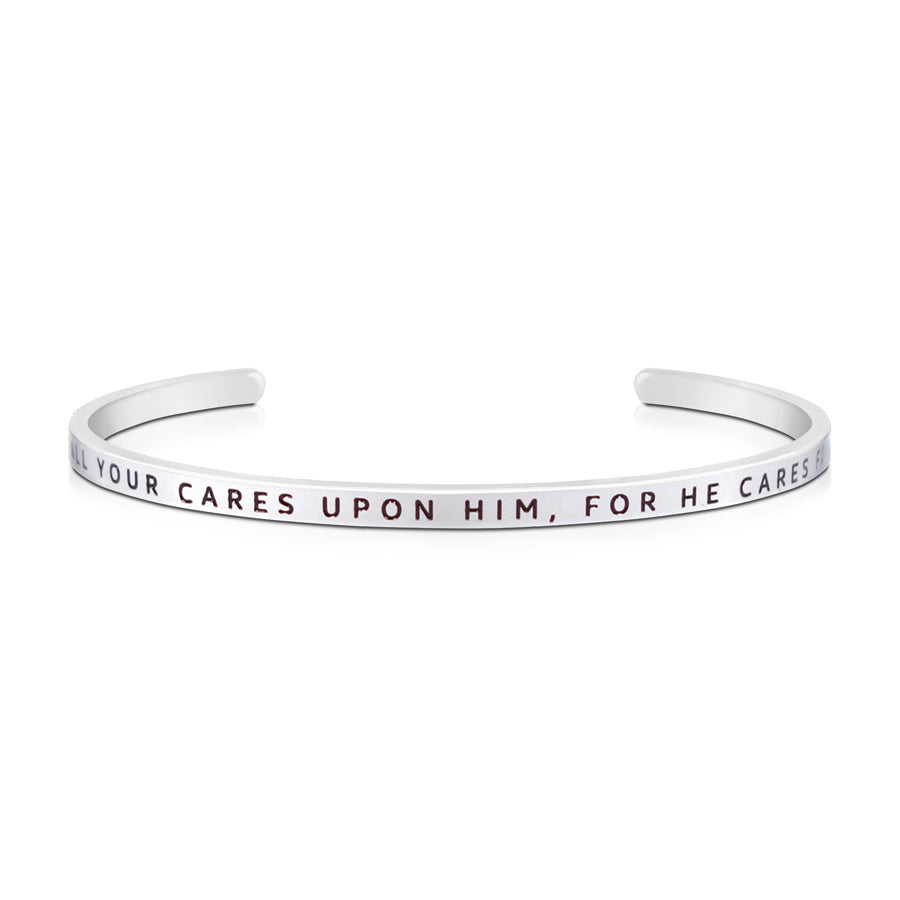 16cm stainless steel verse bands, in silver, adjustable to fit most wrists. Bible verse: Cast your cares upon him for he cares for you.