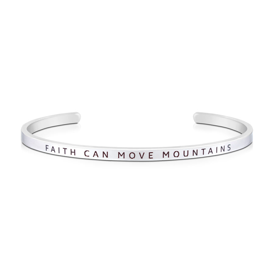 16cm stainless steel verse bands, in silver, adjustable to fit most wrists. Verse: Faith can move mountains