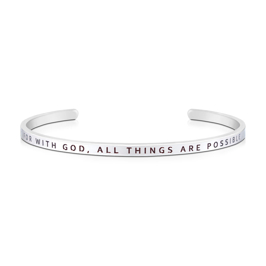 16cm stainless steel verse bands, in silver, adjustable to fit most wrists. Verse: For with God, all things are possible