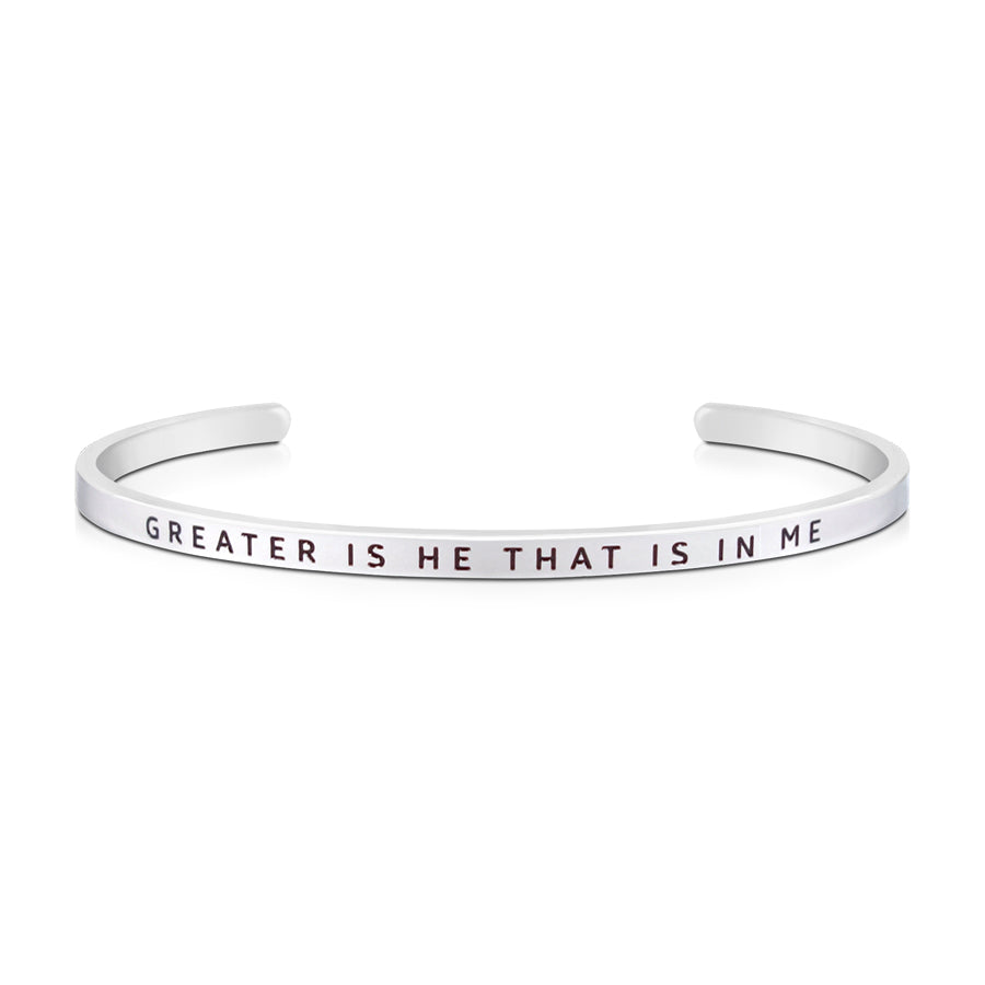 16cm stainless steel verse bands, in silver, adjustable to fit most wrists. Verse: Greater is he that is in me