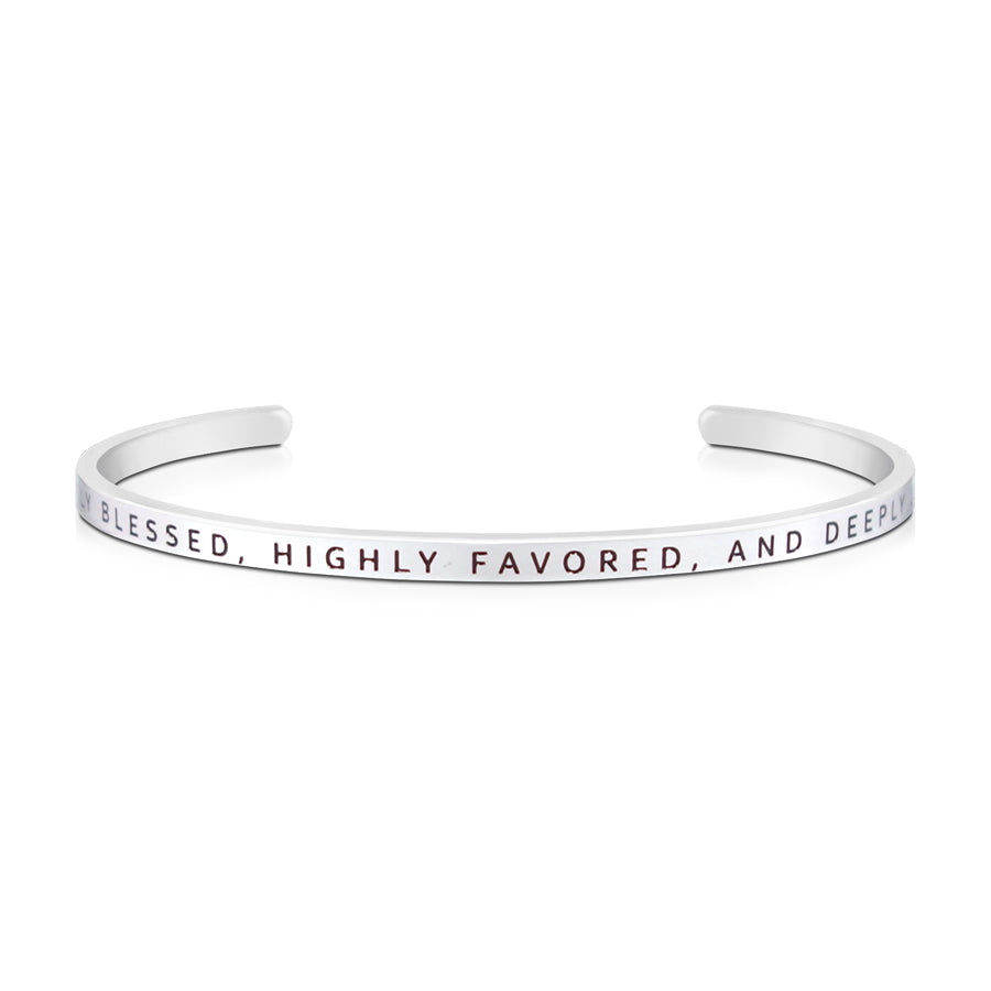 16cm stainless steel verse bands, in silver, adjustable to fit most wrists. Verse: Greatly blessed, highly favoured and deeply loved.