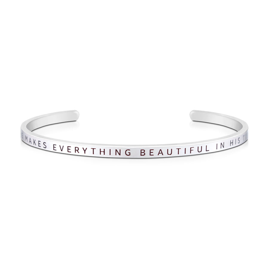 16cm stainless steel verse bands, in silver, adjustable to fit most wrists. Verse: He makes all things beautiful in His time.
