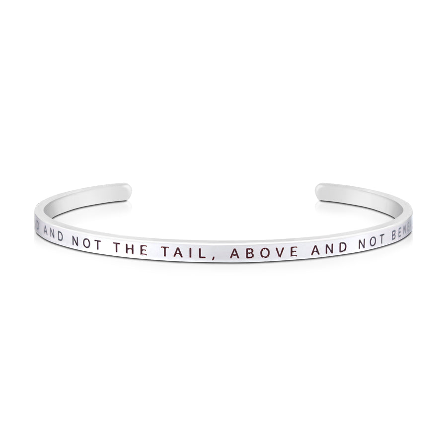 16cm stainless steel verse band,silver plated, adjustable to fit most wrists. Verse: Head not the tail, above and not below.
