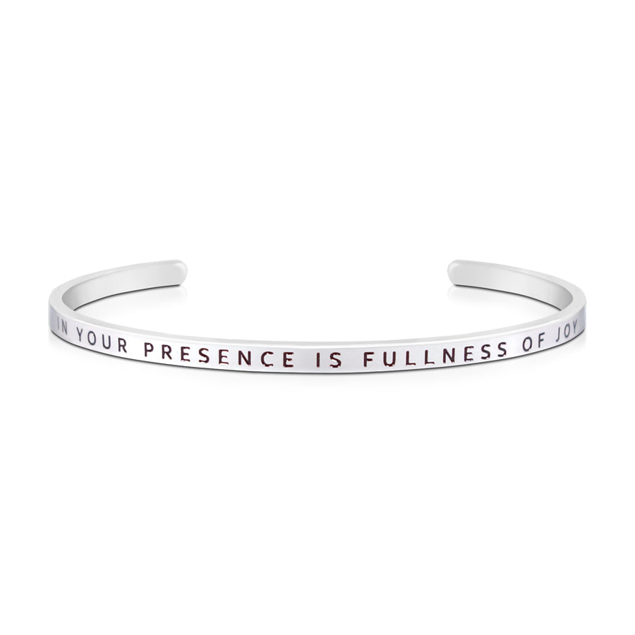 16cm stainless steel verse bands, in silver, adjustable to fit most wrists. Verse: In your presence is fullness of joy.