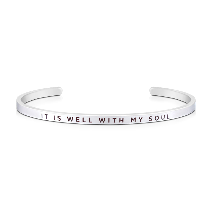 16cm stainless steel verse bands, in silver, adjustable to fit most wrists. Verse: It is well with my soul.