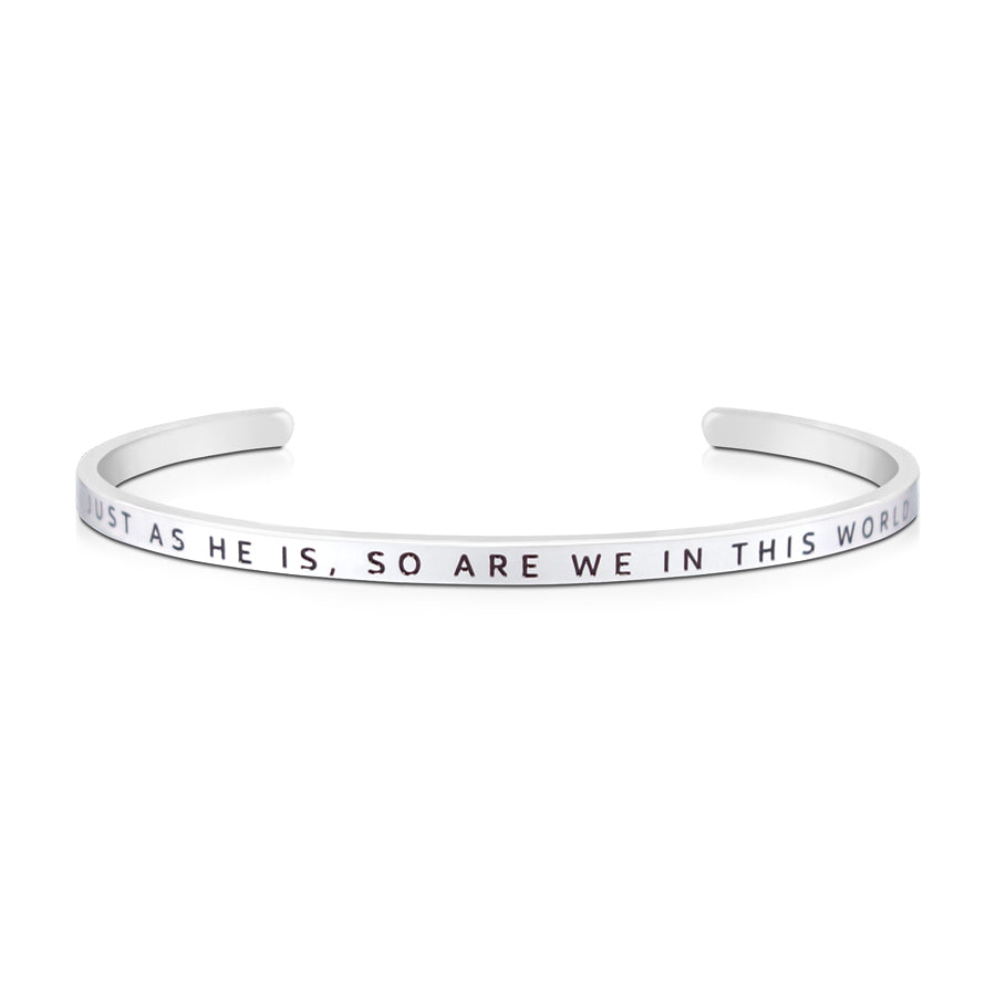 16cm stainless steel verse bands, in silver, adjustable to fit most wrists. Verse: Just as he is, so are we in this world.