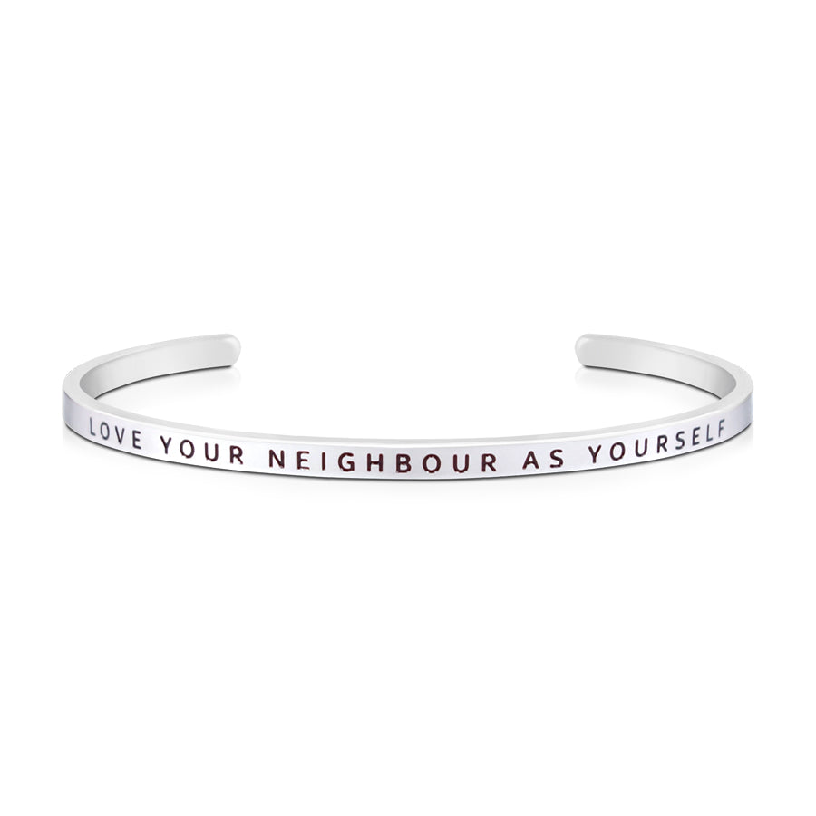 16cm stainless steel verse bands, in silver, adjustable to fit most wrists. Verse: Love your neighbour as yourself.