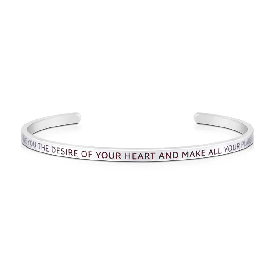 16cm stainless steel verse bands, in silver, adjustable to fit most wrists. Verse: May He give you the desire of your heart and make all your plans come true.