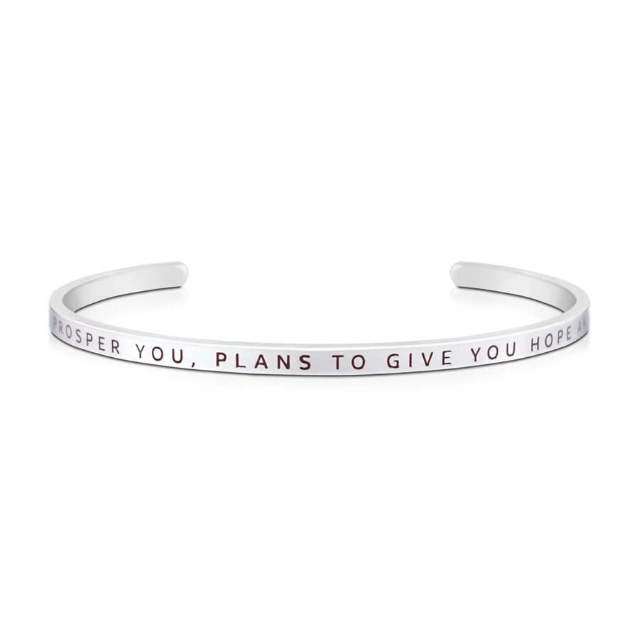 16cm stainless steel verse bands, in silver, adjustable to fit most wrists. Verse: Plans to prosper you, give you hope and future.