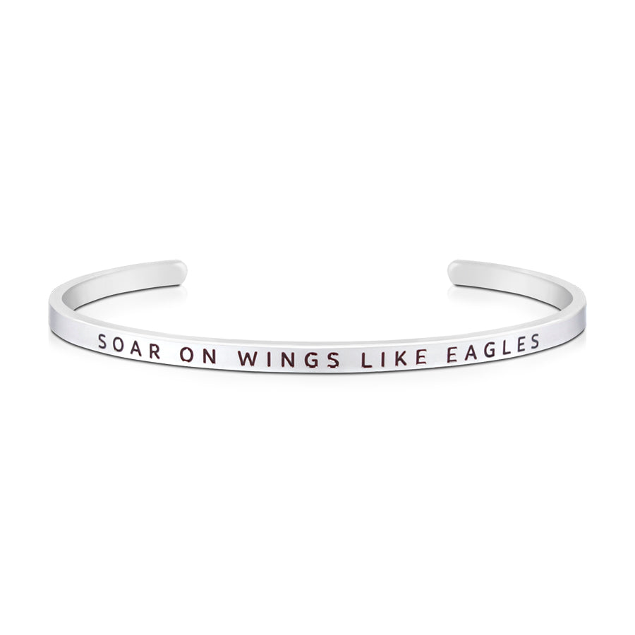 16cm stainless steel verse bands, in silver, adjustable to fit most wrists. Verse: Soar on wings like eagles.