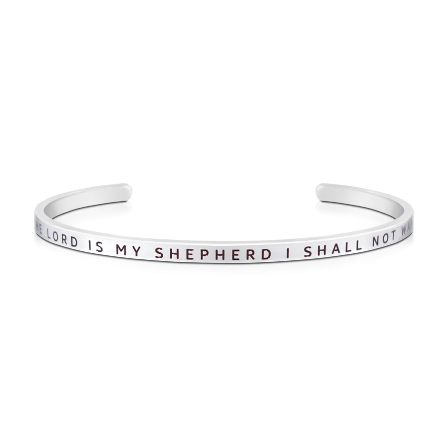 16cm stainless steel verse bands, in silver, adjustable to fit most wrists. Verse: The Lord is my shepherd I shall not want.