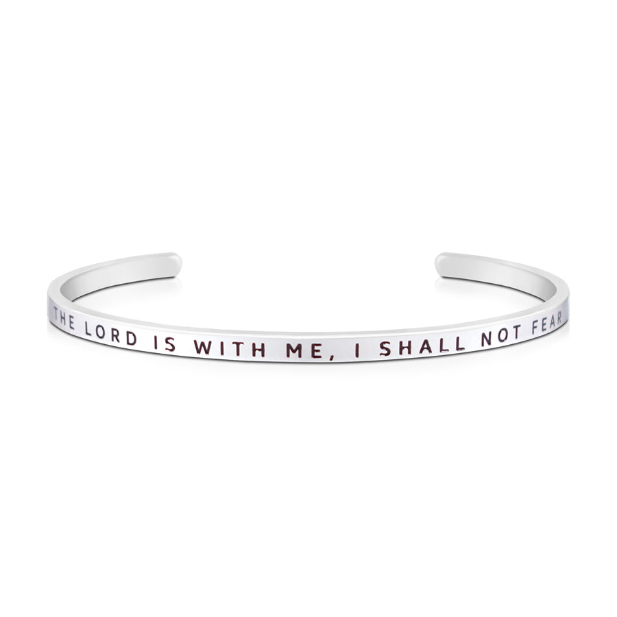 16cm stainless steel verse bands, in silver, adjustable to fit most wrists. Verse: The Lord is with me, I shall not fear.