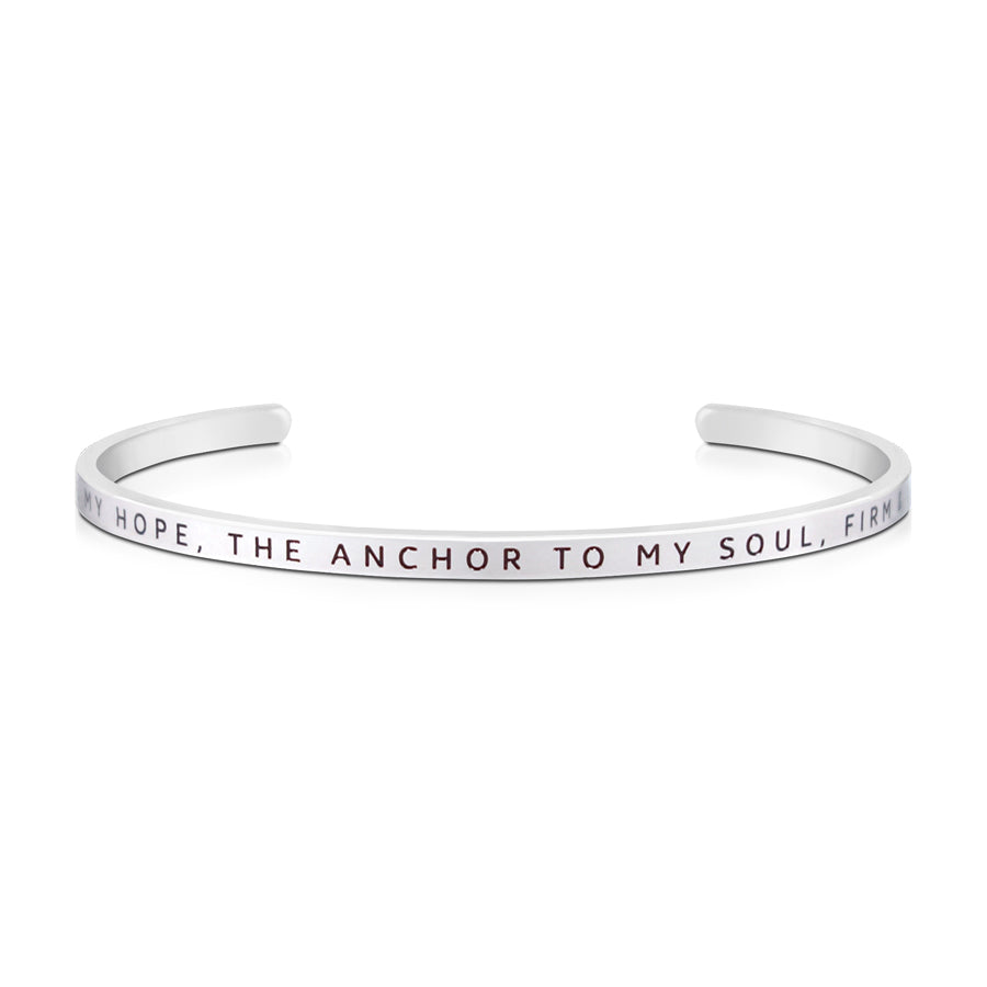 16cm stainless steel verse bands, in silver, adjustable to fit most wrists. Verse: You are my hope, the anchor to my soul, firm & secure.