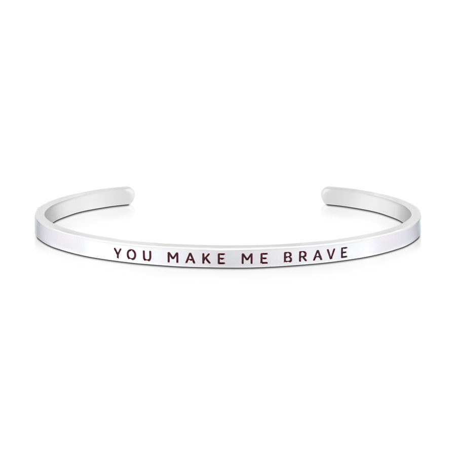 16cm stainless steel verse bands, in silver, adjustable to fit most wrists. Verse: : You make me brave.