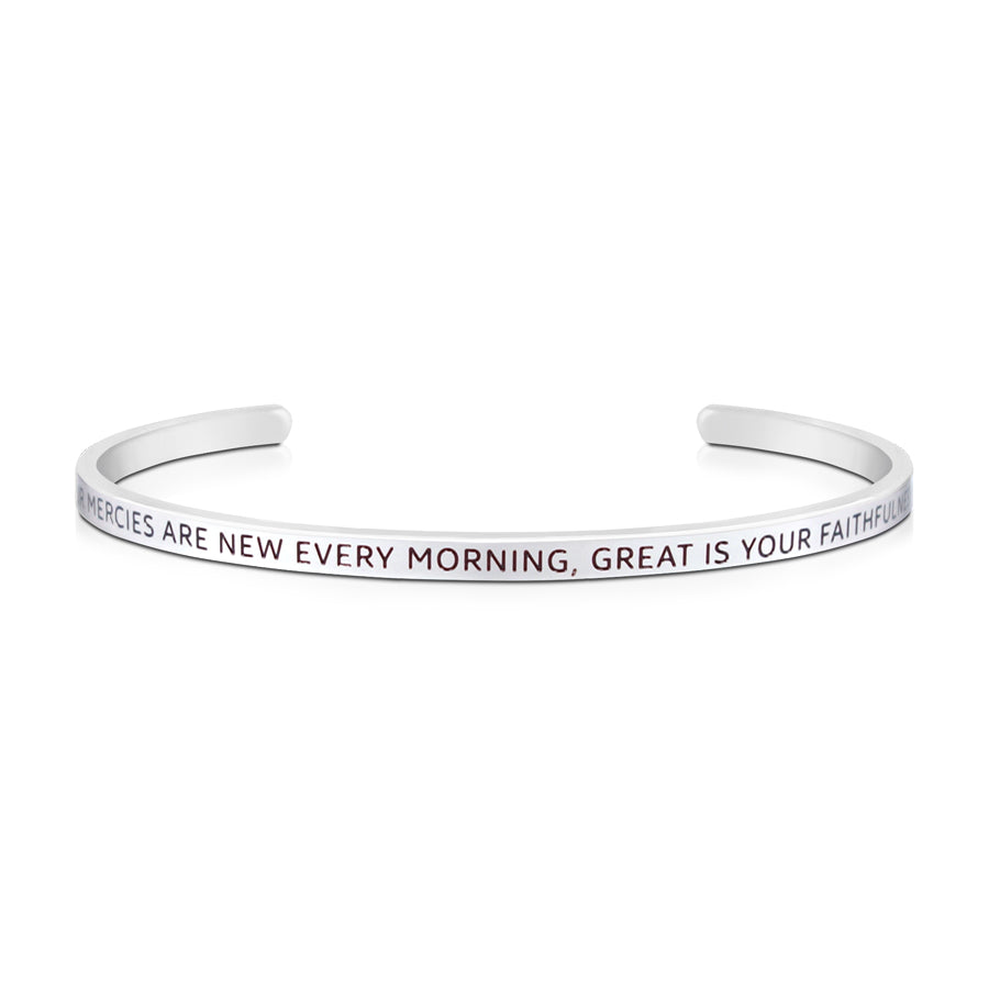 16cm stainless steel verse bands, in silver, adjustable to fit most wrists. Verse: Your mercies are new every morning, great is your faithfulness.
