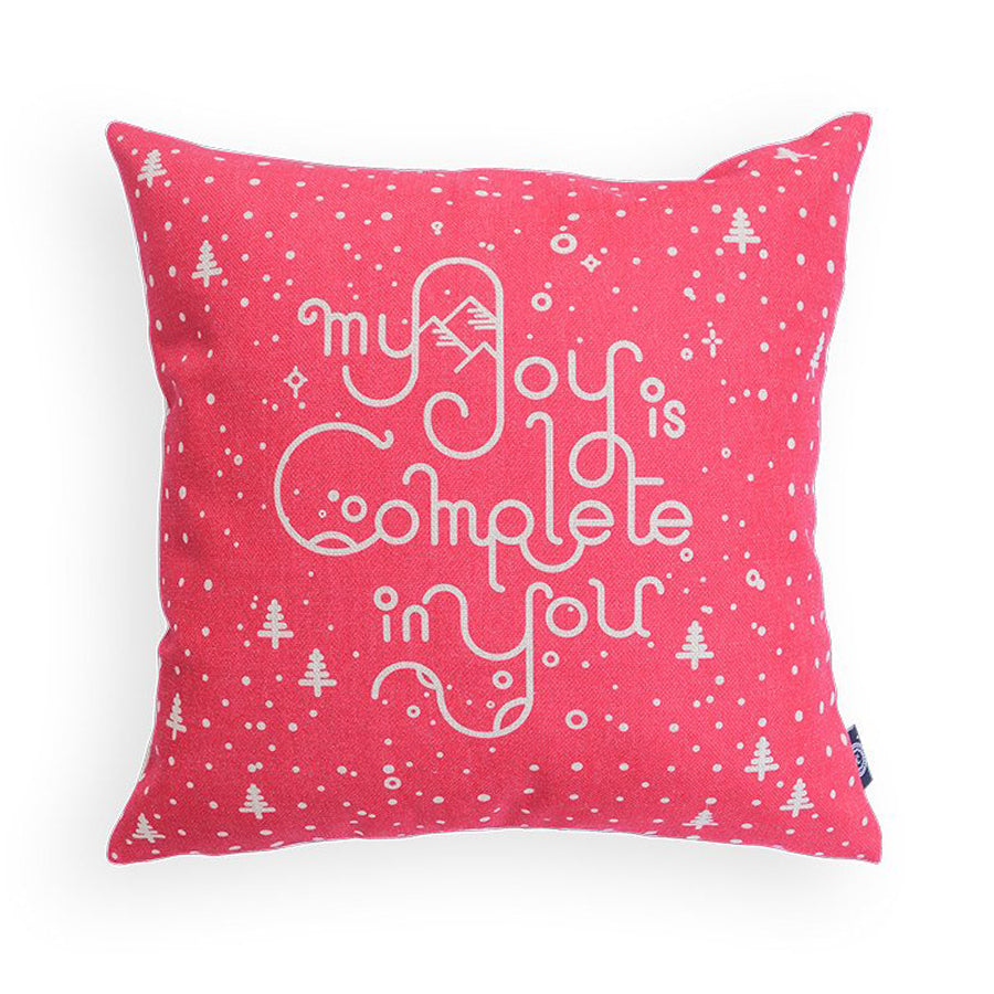 Premium 45cmx45cm pillow cover made of thick cotton linen,  pink with white christmas designs. With hidden zip feature. Features verse 'My joy is complete in you'.