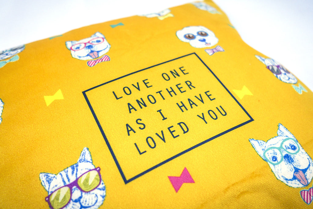 love each other velvet cushion cover yellow with dog details