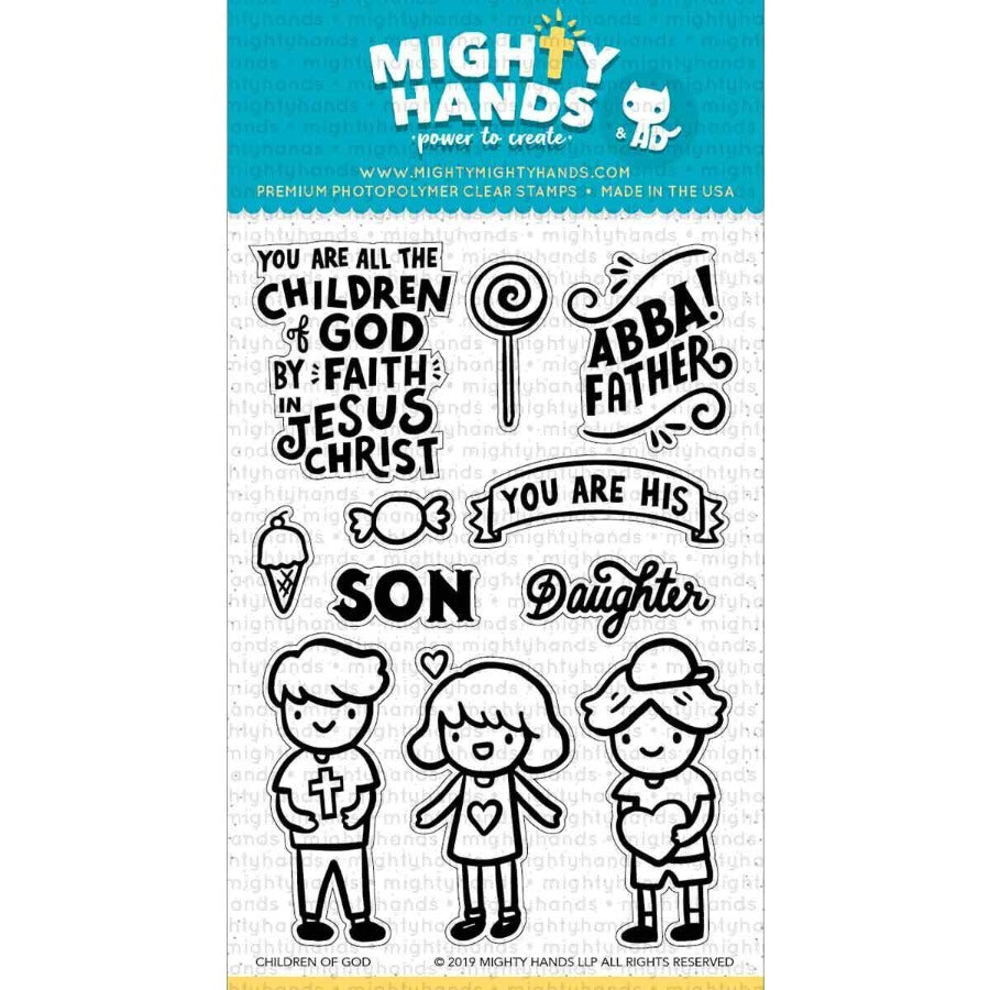 Children of God photopolymer clear stamp set. Includes 5 large sentiments and 6 images. Arts and Craft ideas. DIY birthday card and bookmark ideas.