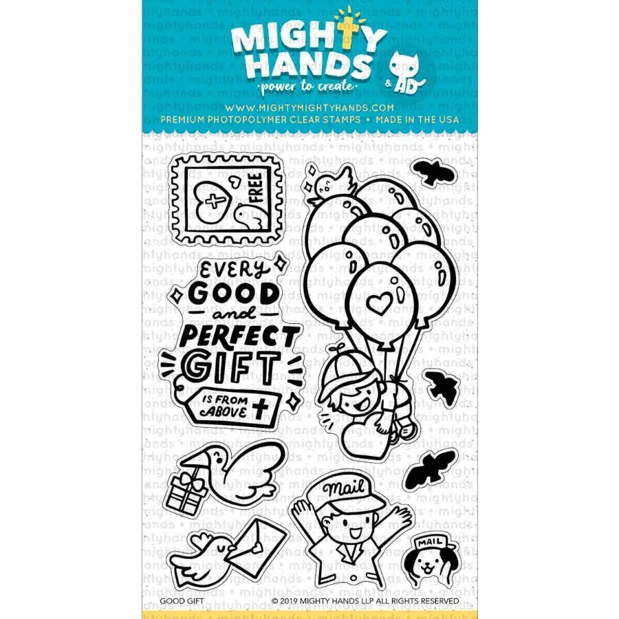 Good gift photopolymer clear stamp set. Includes 1 sentiments and 9 images. Arts and Craft ideas. DIY birthday card and bookmark ideas.