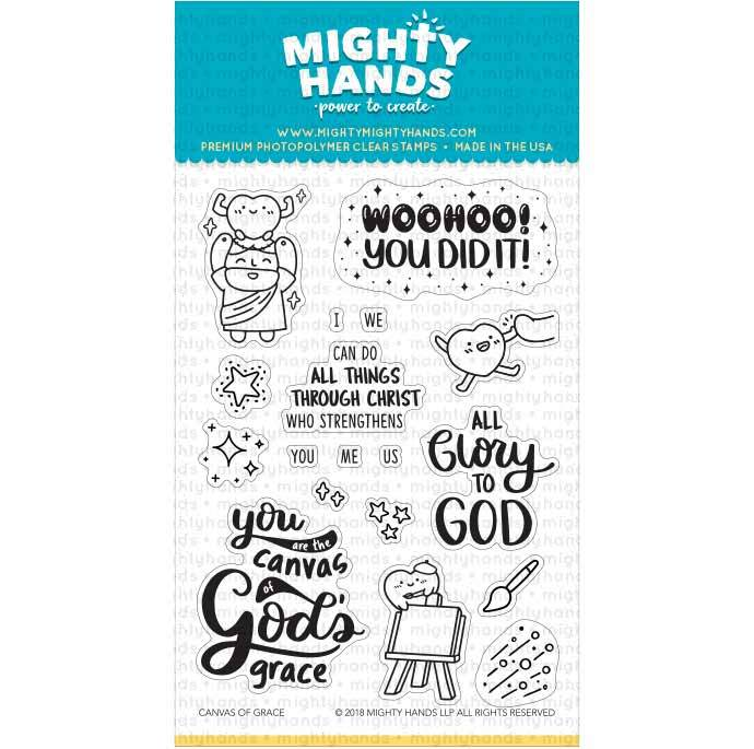 Canvas of Grace photopolymer clear stamp set. Includes 9 large sentiments and 9 images. Arts and Craft ideas. DIY birthday card and bookmark ideas.