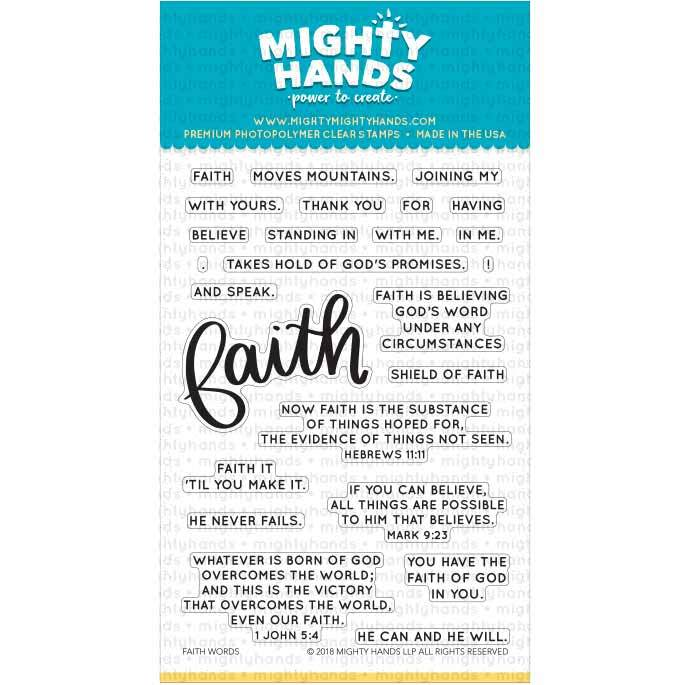 Faith Words photopolymer clear stamp set. Includes 1 large sentiments and 22 small sentiments. Arts and Craft ideas. DIY birthday card and bookmark ideas.
