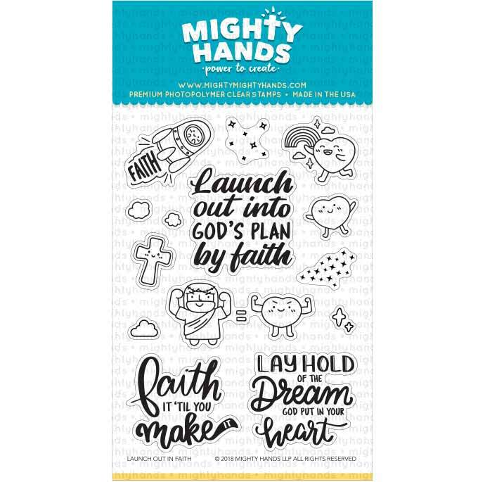 Launch out into God's plan  photopolymer clear stamp set. Includes three sentiments and 11 images. Arts and Craft ideas. DIY birthday card and bookmark ideas.