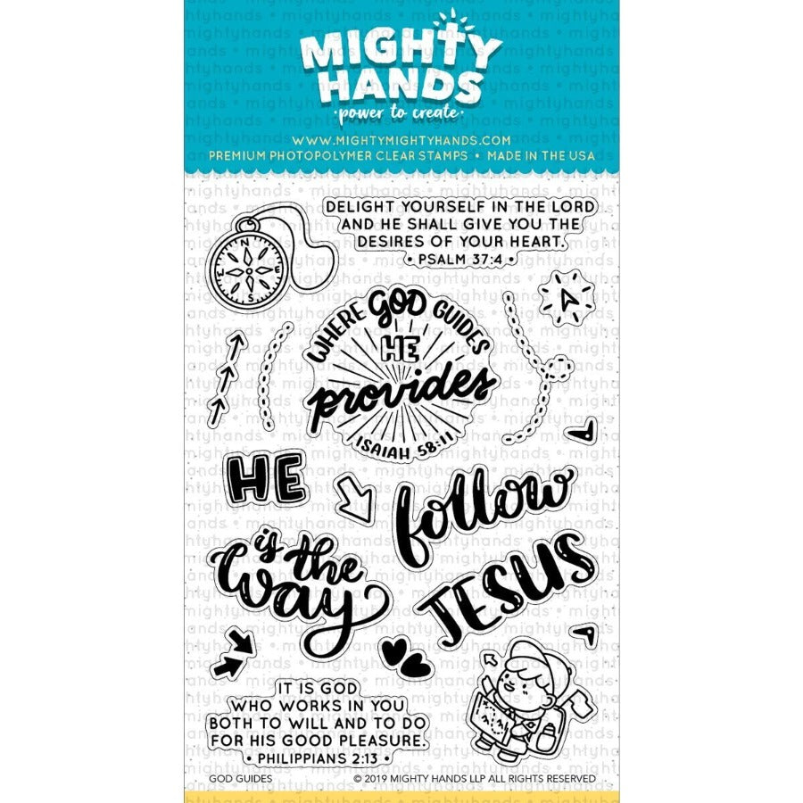 God guides photopolymer clear stamp set. Includes 7 large sentiments and 11 images. Arts and Craft ideas. DIY birthday card and bookmark ideas.