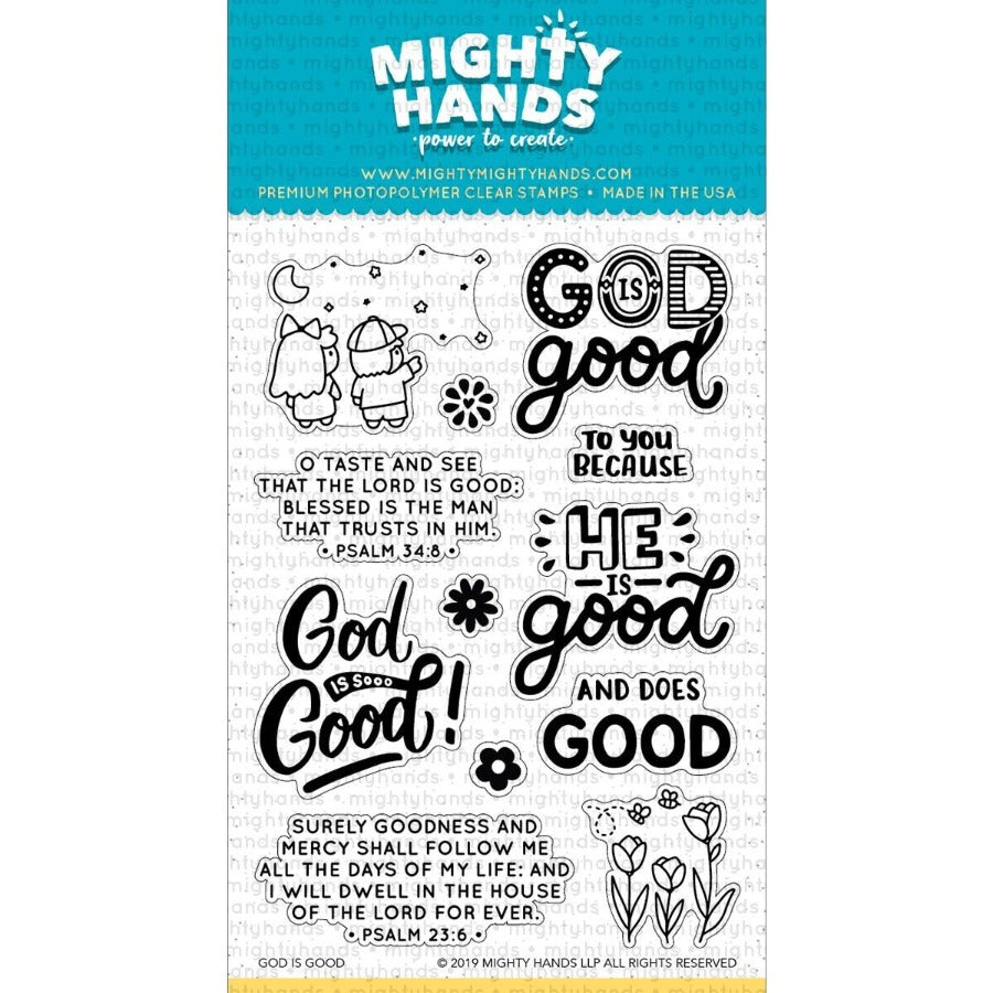 God is good photopolymer clear stamp set. Includes 7 large sentiments and 5 images. Arts and Craft ideas. DIY birthday card and bookmark ideas.