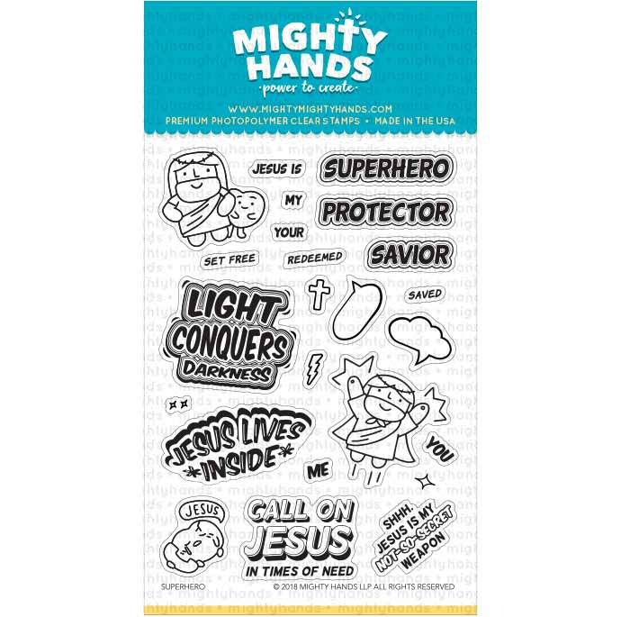 Superhero photopolymer clear stamp set. Includes 13 sentiments and 9 images. Arts and Craft ideas. DIY birthday card and bookmark ideas.
