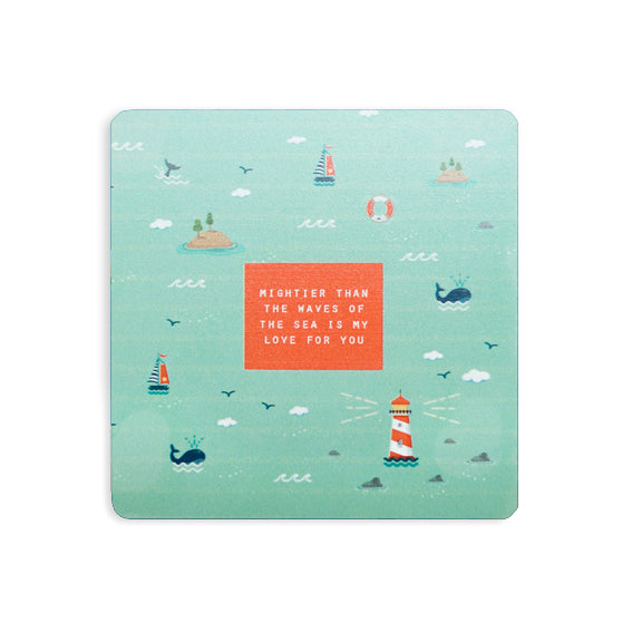 Mightier than the waves of the sea is my love for you mint coaster with whale dolphin light house design