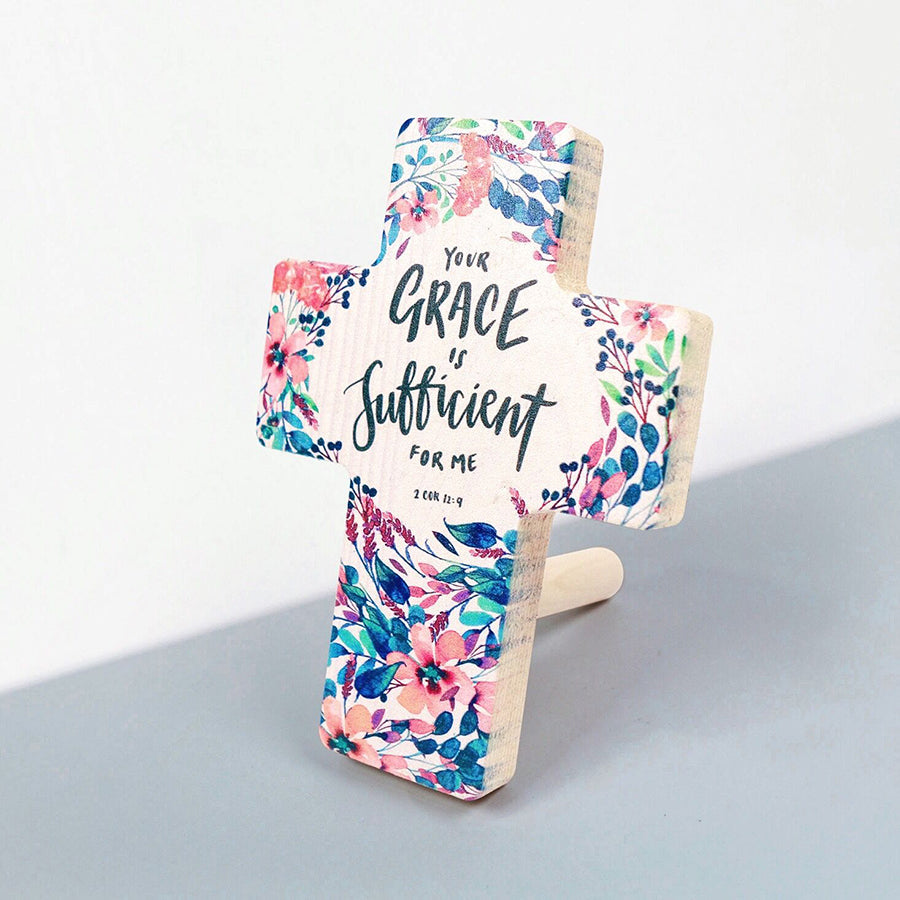 2 Corinthians 12:19 with foliage and flowers printed on pine wood. Wooden cross measurements: 8cm x 11cm.