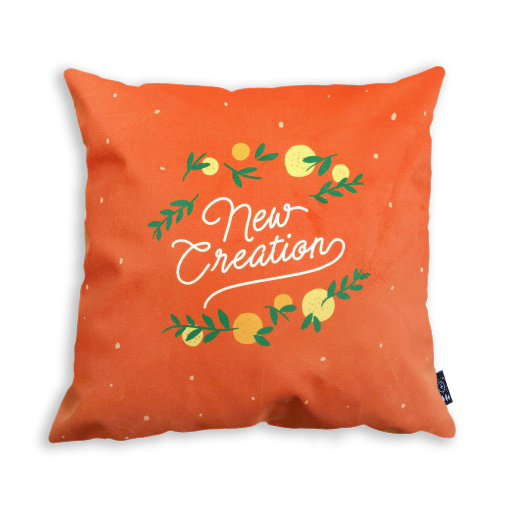 New Creation Bible Verse Pillow Covers with oranges and lemon details