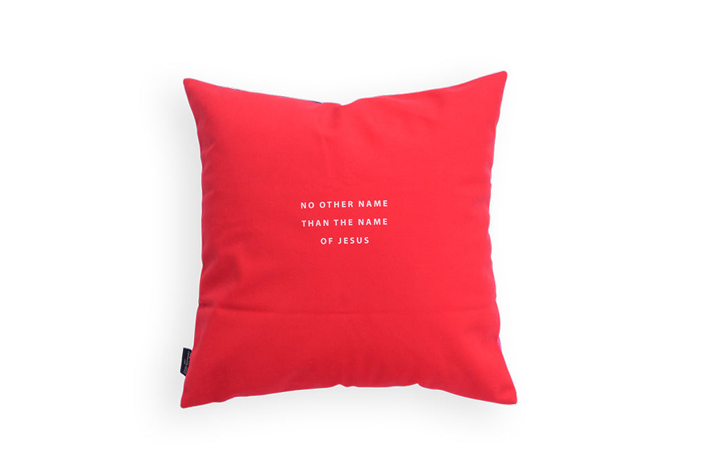 Premium 45cmx45cm pillow cover made of thick super soft velvet,  red glitter designs. With hidden zip feature. Features verse 'No other name than the name of jesus'.