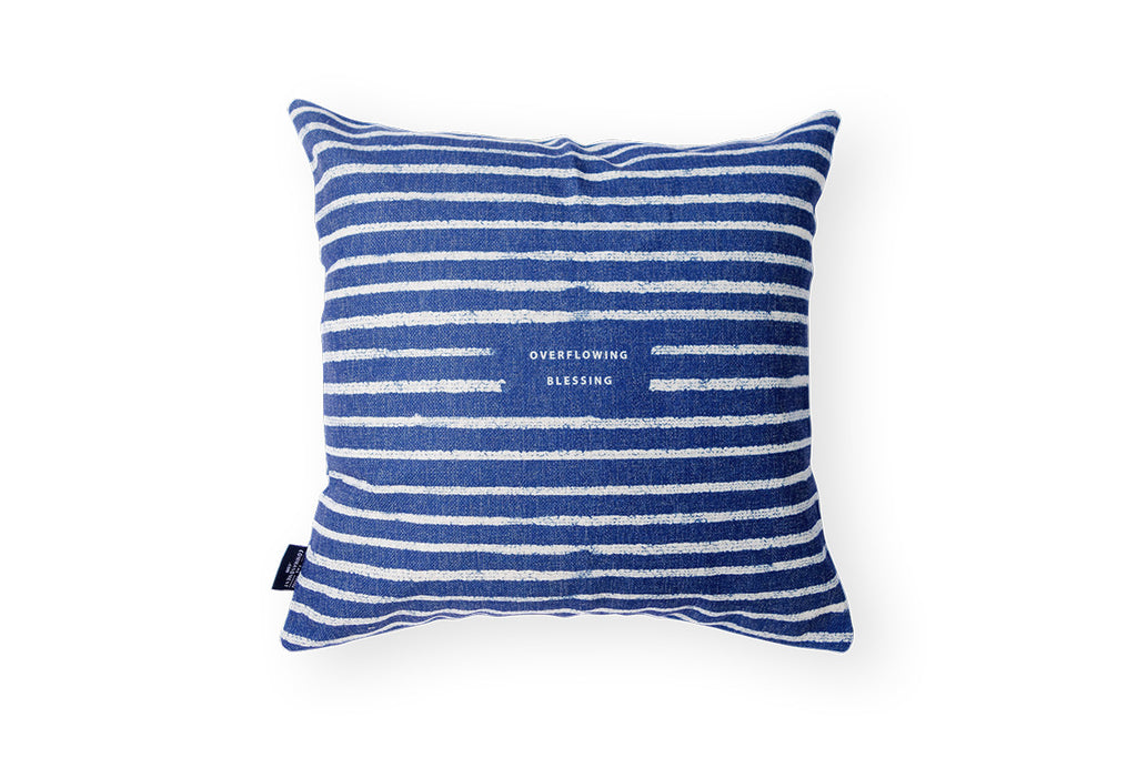 Back design shows blue lines on gray linen and the verse at the centre. Cushion with nautical designs
