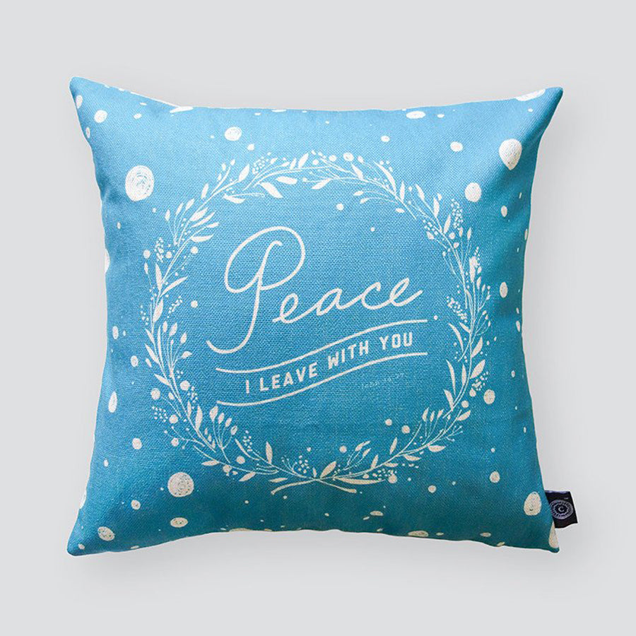 Everyone love cushion covers! They can easily comfort you with its soft feel and comfort messages and then all is well in the world. Features bible Peace I leave with you'. Premium 45cmx45cm light blue pillow cover made of cotton linen. With hidden zip feature.