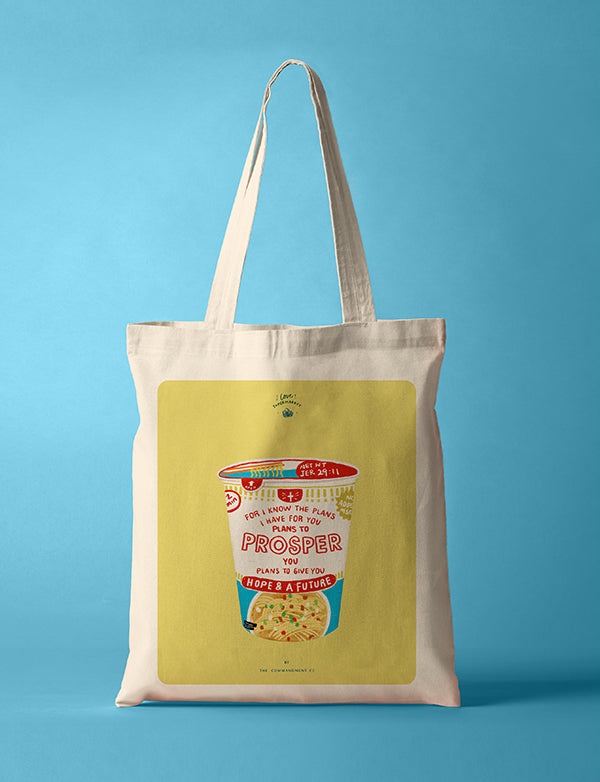 Cup noodles tote bag. Creative tote bag designs. Inspirational bible verses